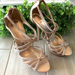 ALDO Gold Embellished Party Wedding Heels Size 6